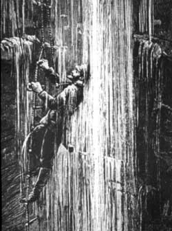Artist's impression of Martel's ascent of Gaping Gill's Main Shaft